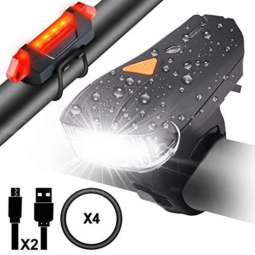 Myguru Luci Bicicletta, Luce Bici LED Ricaricabile USB Impermeabile Set Fanalini Anteriori...