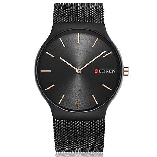 TREEWETO Herrenuhr Ultra-flach Herren Schwarze Armbanduhr Edelstahl Milanaiseband Quarzuhr Uhr Modisch Analog Zeitloses Design