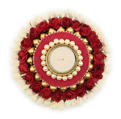 Satyam Kraft Metal Hand Crafted Decor Floral with moti stand /Tealight Candle Holder Pooja and Diya Thali (Multicolour,Standard)