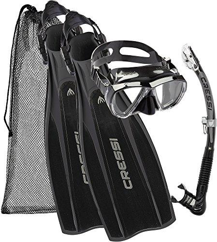 Cressi Kit Prolight per Immersioni/Snorkeling, Pinne Regolabili + Maschera Big Eyes & Snorkel Alpha Ultra Dry, Nero, L/XL (44/45)