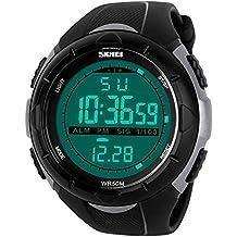 TTLIFE 1025 al aire libre Hombres Reloj Deportivo multifunción LED Relojes de pulsera 50 m resistente al agua, negro/gris