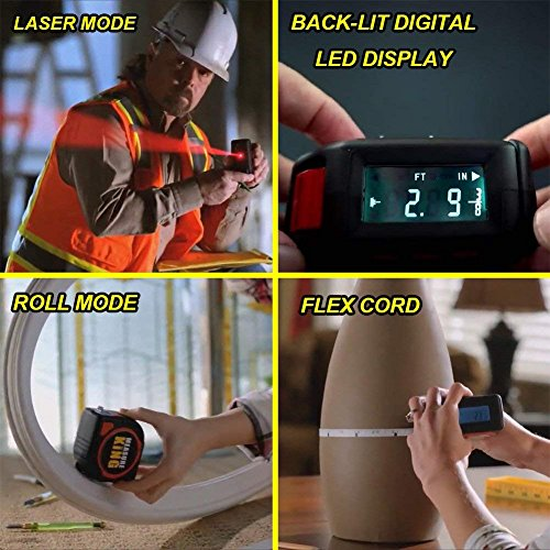 Jukkre 3 in 1 Measuring Tape with Roll Cord Mode High Accuracy Laser Digital Tape High Impact Professional Measuring Tool (Black)