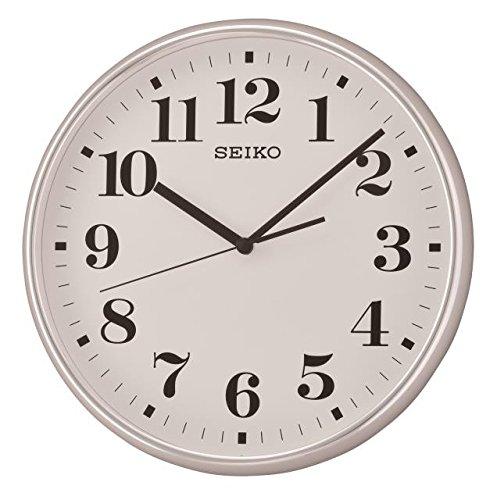 Seiko lancetta dei Secondi a Orologio da Parete e Custodia con Faccia Bianca, plastica, Silver, 37.9 x 37.5 x 6.1 cm
