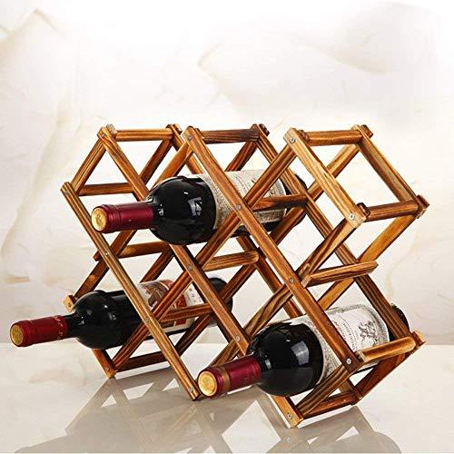 PRO365 Premium Luxury Foldable Wooden 10 Wine Rack Organizer (Bold Antique Color)