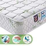Lv. life Bamboo Fiber Mattress, Pocket Sprung and Memory Foam Mattress Pressure Relief with 9-Zone Support System - 100 Nights Trial (6FT Super King (180 x 200 x 22 cm), White)