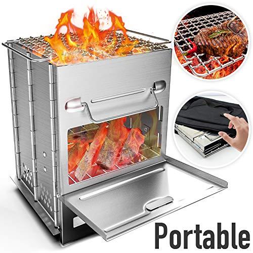 RioRand Fornello da Campeggio Pieghevole,Stufa da Campeggio Esterna Portatile per Barbecue da...