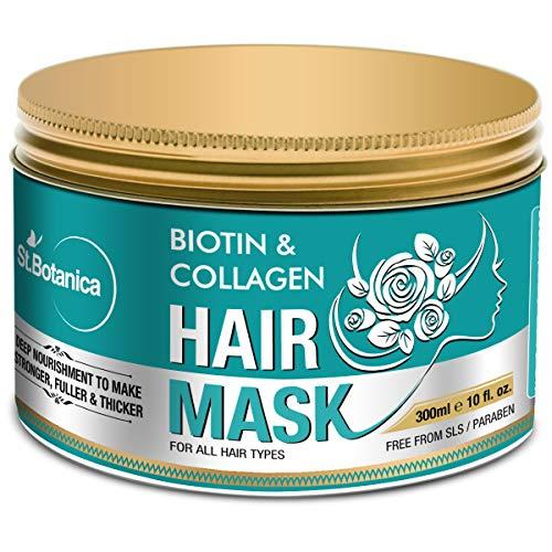 StBotanica Biotin & Collagen Strengthening Hair Mask, 300ml - Revives Dull, Dry, Damaged Hair into Stronger, Fuller and Thicker Hair