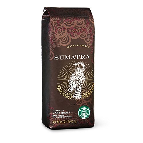 Starbucks Sumatra coffee beans (a full-bodied flavour, herbal, soft spice coffee with aromas of spices and tobacco)