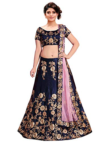 KEDARFAB Women's Embroidered Taffeta Silk Lehenga Choli with Blouse Piece (Navy Blue)
