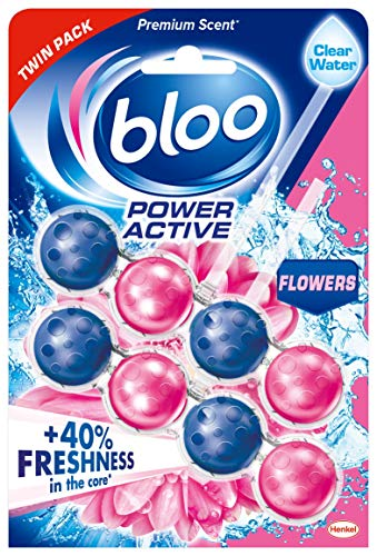 Bloo Solid Rim Toilet Cleaner Power Active Flower Twin Pack 2x50g
