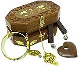SKAVIJ fatto a mano di legno Gioielli Scatola per Da donna Tesoro Il petto di legno Conservazione Scatola per Orecchino, Bangles, Collana