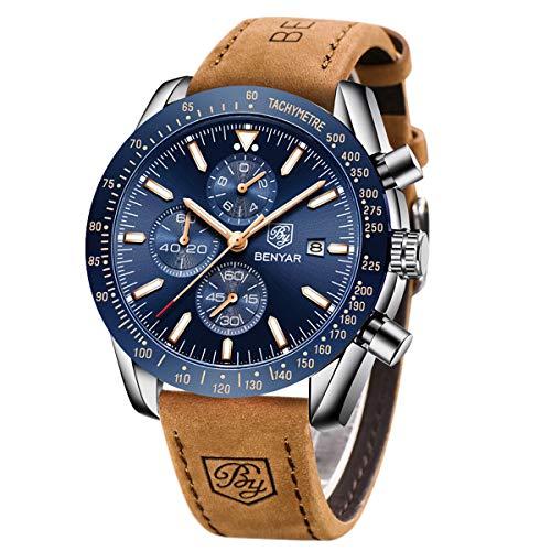 BY BENYAR - Orologio cronografo da uomo | Movimento al quarzo | Orologio sportivo di moda business | 30 M impermeabile e antigraffio | Regalo perfetto per ogni occasione