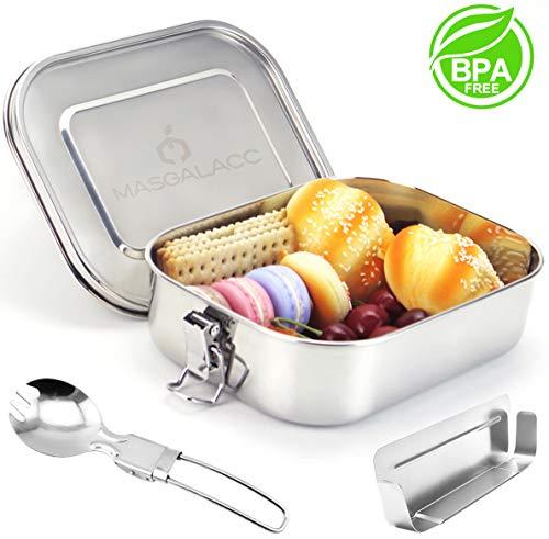 Masgalacc Brotdose Edelstahl mit herausnehmbarer Trennwand und zusammenklappbarer Löffel - BPA Frei - 100{e5062dcf61daeacceda46074f6c935f62cc0b82df467ddcc77b1a98c1641f6d2} Auslaufsicher Lunchbox für Kinder und Erwachsene,Brotbüchse,Vesperdose(1400 ML)