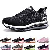 Uomo Donna Air Scarpe da Ginnastica Corsa Sportive Fitness Running Sneakers Basse Interior Casual all'Aperto Black White 44