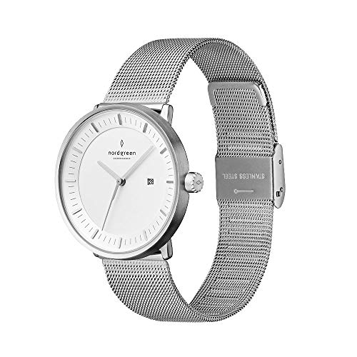 Nordgreen Philosopher Skandinavische Klassische Uhr in Silber Analog Quarzwerk 40mm (L) mit Mesh Armband in Silber 10078