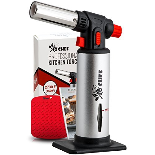 Jo Chef Professional Kitchen Torch - Aluminum Refillable Crème Brulee Blow Torch - Safety Lock & Adjustable Flame + Fuel gauge - for Cooking, Baking, BBQ - FREE Heat Resistant Place Mat + Recipe eBook