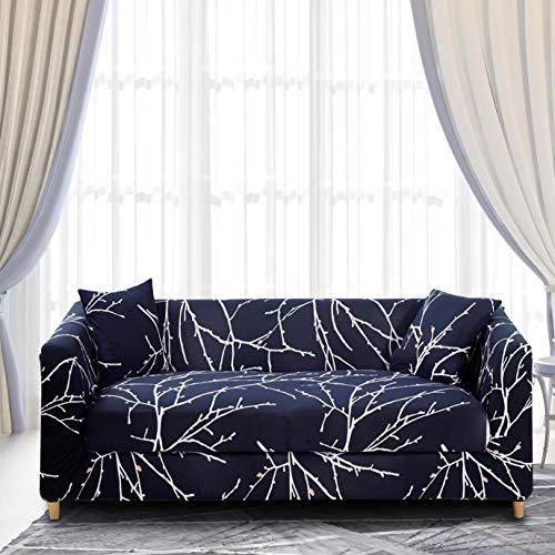Enzer - Copri divano in tessuto elastico, motivo floreale con uccelli, protezione da animali per poltrona, divano, Tree Branch, 2 posti