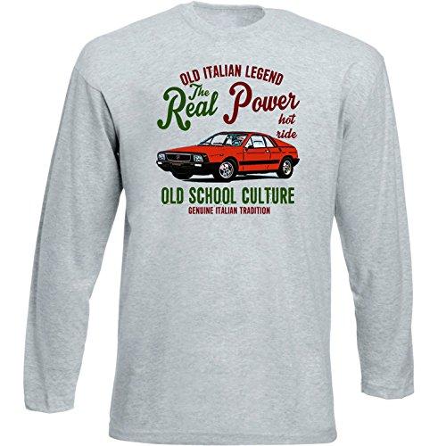 TEESANDENGINES Lancia Beta Montecarlo Rossa Tshirt da Uomo Grigia con Manica Lunga Size XLarge