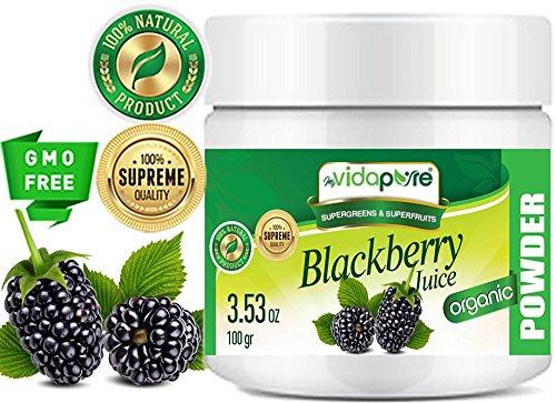 BlackBerry Juice Powder orgánico. 100% Pure Natural RAW Non-GMO. SUPERFOOD para la salud, la cocción, la cocina, la belleza, el suplemento dietético, la comida para mascotas. 100 Gramos. por myVidaPure