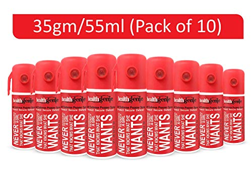 Healthgenie Self Defense Pepper Spray (Pack of 10) for Woman Safety - 35gm / 55 ml