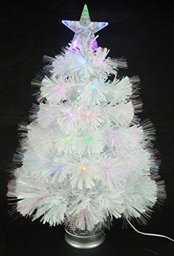 Christmas Concepts 2ft (60cm) Bianco Iridescent PVC Fiber Optic Albero di Natale con luci a LED Che cambiano Colore