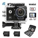 WiMiUS Q1 Action Cam 4K, Sport Action Camera 4K HD WIFI 16MP Fotocamera Subacquea Impermeabile 30M 170° Grandangolare con kit di Accessori e 2 Batterie (Nero)