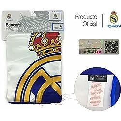 Producto Oficial Real Madrid Bandera del Real Madrid 150X100CM (Escudo con Real Madrid)