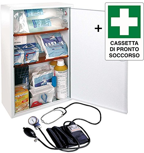 ARMADIETTO CASSETTA MEDICA DI PRONTO SOCCORSO METALLO ALLEGATO 1 CON CARTELLO 30X20 PER AZIENDE CON...
