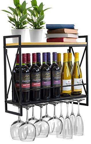 INDIAN DECOR. 45739 Wine Bottle Stemware Glass Rack, Industrial 2-Tier Wood Shelf with 5 Stem Glass Holders for Glasses, Flutes, Mugs, Metal