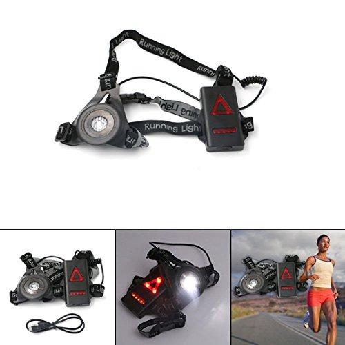 Notte Sport Corsa luce, Ghisa Power LED USB Ricaricabile 3modi Running luci 90–250LM...