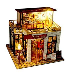 KQKLQQ Casa de muñecas en Miniatura con Muebles, Bricolaje Prueba Dollhouse Kit Plus Polvo y Movimiento Música, Escala 1:24 Creativo Regalo de cumpleaños