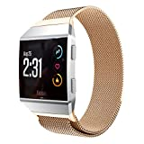 Aresh per Fitbit Ionic Watch Band, metallo milanese loop strap Quick Release Band for Fitbit braccialetto magnetico in acciaio INOX, Ionic orologio, Rose Gold