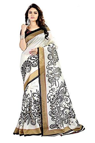 Saree(Devpriya fashion women white color saree with blouse peace)