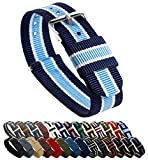 BARTON NATO Style Straps - Choice of Color, Length & Width (18mm, 20mm, 22mm or 24mm) - Navy/Sky/Ivory 22mm - Standard Length