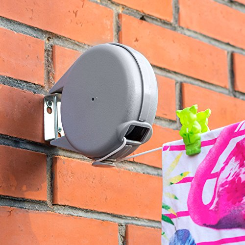 Brabantia is a leading brand of household products and the Brabantia WallFix Wall-Mounted Retractable Washing Line lives up to their reputation of supplying high-quality goods. This is a sleek, wall-mounted line that works great anywhere.