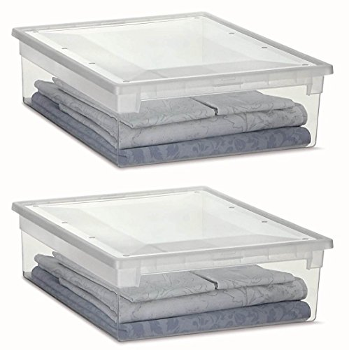 2 Stück XL Aufbewahrungsbox mit Deckel aus transparentem Kunststoff und XL Stauvolumen! Maße: 37,6 x 52 x 13,9 cm