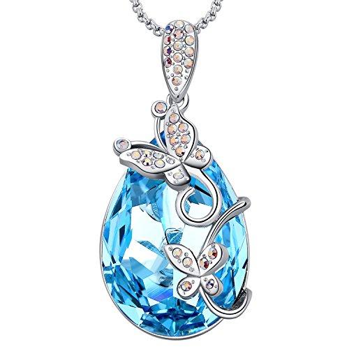 MEGA CREATIVE JEWELRY Experiencia de la Vida Mariposa Collares de Diseño Lágrima significado más Fuertes para Las Mujeres Cristales Swarovski Azul Colgantes de la Moda Aleación, Regalo de la Joyería