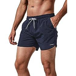 MaaMgic Shorts de Corte Slim Hombre Bañador de Natación Secado Rápido Forro de Malla Trajes de Baño