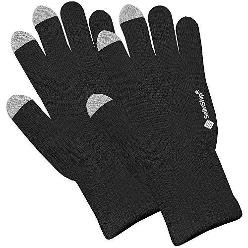 SellnShip Touch Screen Winter Gloves Warm Touchscreen Woolen Mittens for Men Women Children - Black (1)