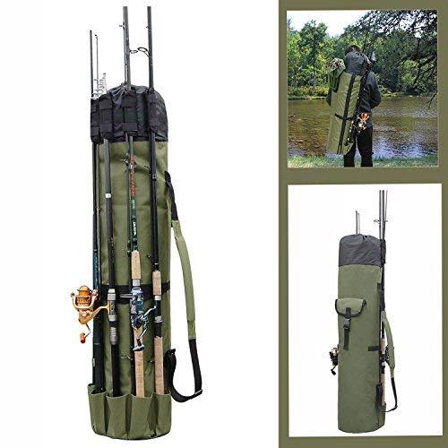 AGOOL Multifunctional Fishing Bag Fishing Rod Reel Case Carrier Stand Bags Travel Carrier Fishing Holder Tackle Storage Large Capacity Lightweight Waterproof Fishing Gear Organizer