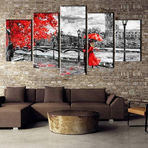 LPHMMD 5 Dipinti Tela Quadro su Tela Dipinti Decorazioni per la casa 5 Pezzi Orologio Torre Amore Modo Immagini Soggiorno Stampa Poster Astratto