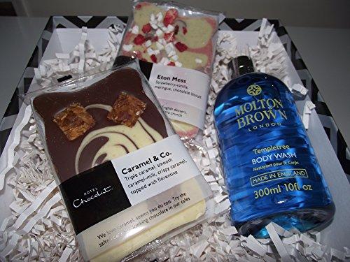 Molton marrón/Hotel Chocolat baño & Cuerpo de regalo 300ml templetree Body Wash, Eton desorden y Caramel & Co lujo choolate losa 100G cada uno en una caja de regalo