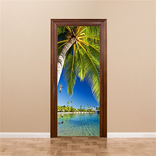 gwell sticker trompe l 39 il stickers de porte 3d effet d coration paysage plage mer 77 x 200 cm. Black Bedroom Furniture Sets. Home Design Ideas