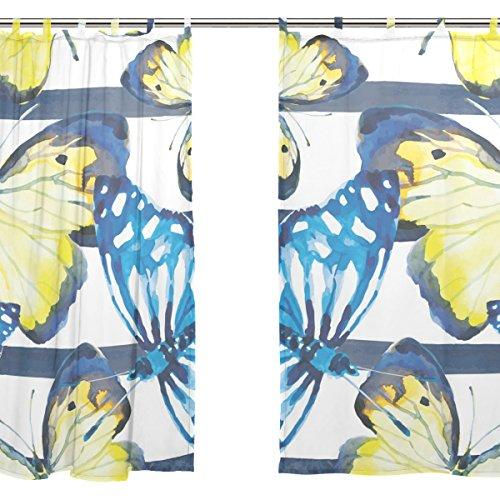 jstel 2pcs Voile cortina de ventana, acuarela mariposa azul Polk Dot, tul pura cortina Drape cama 55x 78(dos paneles Set