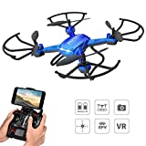 Potensic Drone F181WH con Telecamera, WiFi FPV 2.4GHz 4CH con Función Stepless-Speed 2 Megapíxeles HD Cámara, 3D Flips Función 6-Axis Gyro RC Quadcopter con Modo Sin Cabeza- Azul