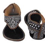 Femme Royale Women's Zari Embroidery Work Velvet Sandals