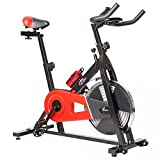 TecTake 401714–Vélo (Noir, Rouge, vertical/horizontal, calories, moniteur, vitesse, temps)