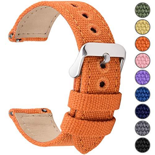 Fullmosa 8 Colori per Cinturino Orologio a Sgancio Rapido, Tela Militare Cinturino per Orologio 24mm,22mm,20mm,18mm,16mm,14mm,Cinturino per Uomo e Donna, 22mm Arancio