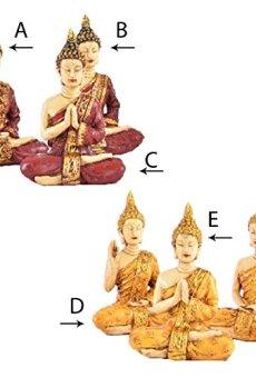 Figura de Buda sentado amarillo/rojo (8,5x 5x 11,5cm) Resina–B