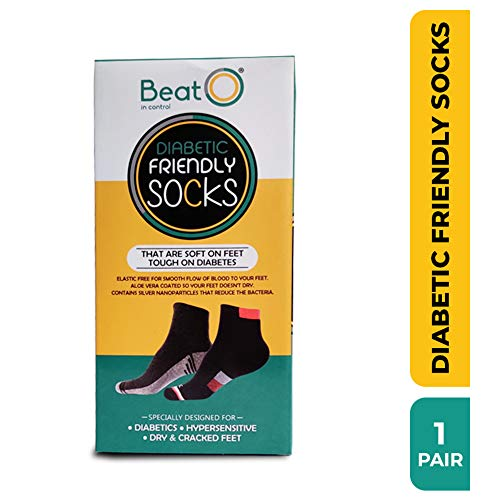BeatO Diabetic Care Socks for Men & Women (1 Pair, Daily Wear, Free Size, Black)